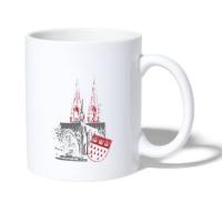 """Kaffeepott mit dem Motiv """"Köln"""" in grau-rot"""